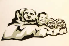 Brian Yount face on Mount Rushmore created in Illustrator